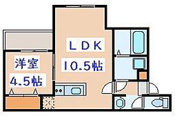 JR鹿児島本線 吉塚駅 徒歩10分の賃貸アパート 2階1LDKの間取り