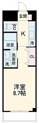 京成千葉線 新千葉駅 徒歩9分の賃貸マンション 2階1LDKの間取り
