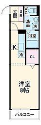 JR総武線 新検見川駅 徒歩6分の賃貸アパート 1階ワンルームの間取り
