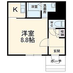 UZUMASA ARCUS 1階1Kの間取り