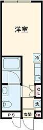 東急世田谷線 上町駅 徒歩6分の賃貸マンション 2階ワンルームの間取り