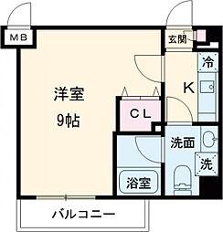 東武東上線 ときわ台駅 徒歩10分の賃貸マンション 3階1Kの間取り