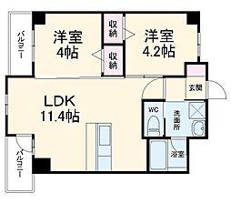 JR博多南線 博多南駅 徒歩6分の賃貸マンション 4階2LDKの間取り