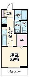 JR武蔵野線 三郷駅 徒歩5分の賃貸マンション 2階1Kの間取り