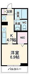 JR武蔵野線 三郷駅 徒歩5分の賃貸マンション 3階1Kの間取り