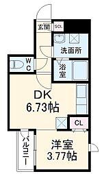 福岡市地下鉄空港線 唐人町駅 徒歩6分の賃貸マンション 2階1DKの間取り