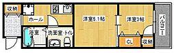 福岡市地下鉄七隈線 六本松駅 徒歩11分の賃貸アパート 3階2Kの間取り