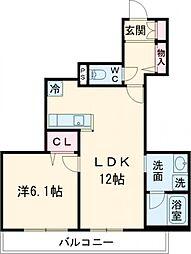 京王線 東府中駅 徒歩5分の賃貸マンション 3階1LDKの間取り