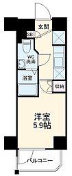 横浜市営地下鉄ブルーライン 阪東橋駅 徒歩4分の賃貸マンション 11階1Kの間取り
