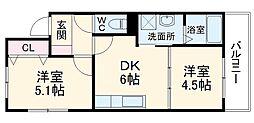 シャーメゾン朝日 3階2DKの間取り
