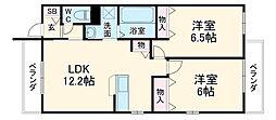 阪急京都本線 西山天王山駅 徒歩18分の賃貸マンション 3階2LDKの間取り