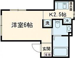 エニーロード平塚 2階1Kの間取り