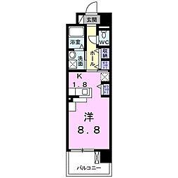 グラース武蔵浦和 4階1Kの間取り