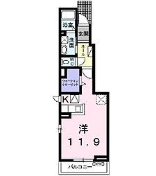 フェリーチェ前田 1階1Kの間取り