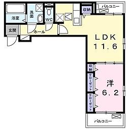 Luminous(ルミナス)I 2階1LDKの間取り