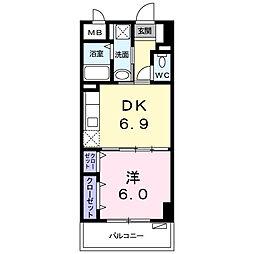 シャルマン リヴェール 7階1DKの間取り