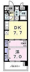モダンテラス中央 4階1DKの間取り