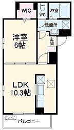 名鉄犬山線 大山寺駅 徒歩6分の賃貸アパート 1階1LDKの間取り