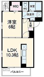 名鉄犬山線 大山寺駅 徒歩6分の賃貸アパート 3階1LDKの間取り