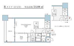 福岡市地下鉄空港線 大濠公園駅 徒歩3分の賃貸マンション 9階1LDKの間取り