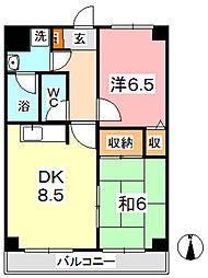 マンション曽根本 5階2DKの間取り