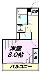 JR五日市線 秋川駅 徒歩9分の賃貸マンション 3階1Kの間取り