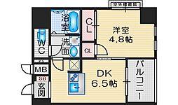 SOAR ESAKA EAST 6階1DKの間取り