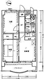 ライオンズマンション西新第2[208号室]の間取り