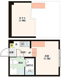 (仮称)梅田5丁目Aコーポ 1階ワンルームの間取り
