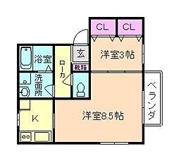 アペルトコートB棟[2階]の間取り