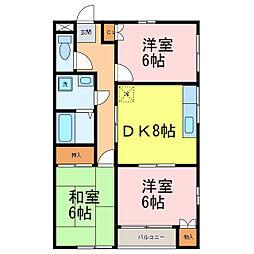 栃木県小山市駅東通り1丁目の賃貸マンションの間取り