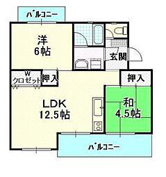 平川住宅 15[404号室]の間取り