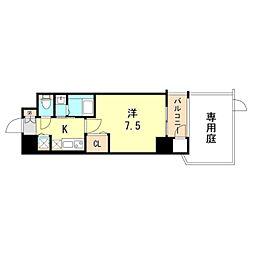 レジデンス神戸グルーブHarborWest 1階1Kの間取り