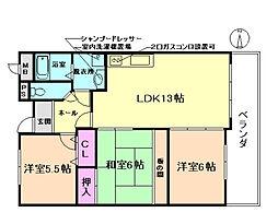 エスポワール笹部[1階]の間取り