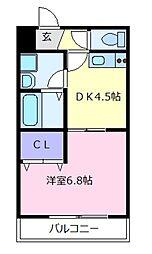 近鉄南大阪線 高鷲駅 徒歩15分の賃貸アパート 3階1DKの間取り