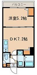 JR総武線 千葉駅 徒歩9分の賃貸マンション 2階1DKの間取り