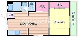大阪府箕面市桜ケ丘4丁目の賃貸マンションの間取り