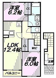 JR青梅線 拝島駅 徒歩15分の賃貸アパート 2階2LDKの間取り