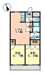 セントラルハイツ2[2階]の間取り