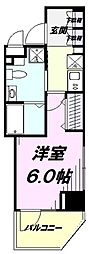 JR中央線 国立駅 徒歩2分の賃貸マンション 8階1Kの間取り