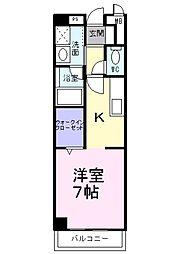南海高野線 金剛駅 徒歩7分の賃貸マンション 2階1Kの間取り