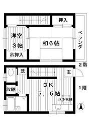 [テラスハウス] 東京都練馬区桜台3丁目 の賃貸【/】の間取り