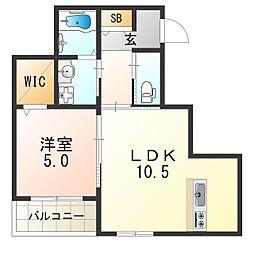 メゾンモリエIII 3階1LDKの間取り