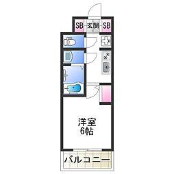 スプランディッド難波元町DUE 11階1Kの間取り