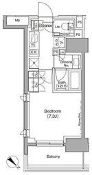 ザ・パークハビオ月島フロント 10階1Kの間取り