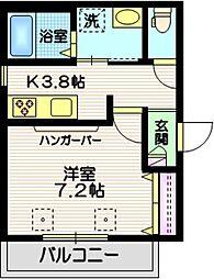 東急多摩川線 矢口渡駅 徒歩8分の賃貸マンション 3階1Kの間取り
