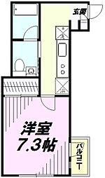 JR中央線 立川駅 徒歩9分の賃貸マンション 1階1Kの間取り