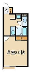 JR武蔵野線 新座駅 徒歩22分の賃貸アパート 1階1Kの間取り
