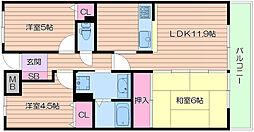 四条畷ロイヤルマンション[6階]の間取り