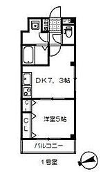 東武野田線 岩槻駅 徒歩9分の賃貸アパート 2階1DKの間取り